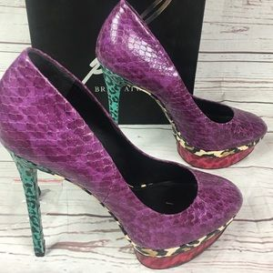 Brian Atwood 9.5 snake skin multi color Bffontanne